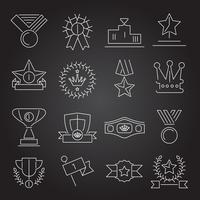 Contorno de conjunto de ícones de prêmio vetor