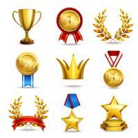 Conjunto de ícones de prêmio realista vetor