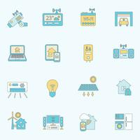 Linha plana de ícones para casa inteligente