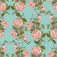 Padrão de cor sem costura floral vintage vetor