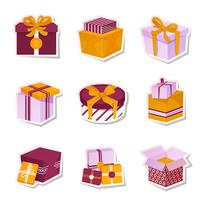 Conjunto de adesivos de caixa de presente