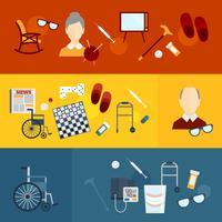 Banners de plano de vida de pensionistas