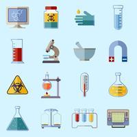Ícones de equipamento de laboratório vetor