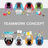 Pessoas de trabalho em equipe vista superior vetor