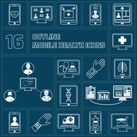 Ícones de saúde móvel definir o contorno