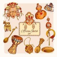 Conjunto de ícones coloridos de esboço de África