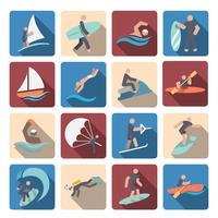 Conjunto de ícones de esportes de água colorido vetor