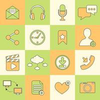 Linha plana de ícones de redes sociais