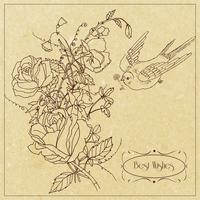Cartão vintage pássaro e flores