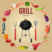 Cartaz de menu de churrasco vetor