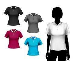 Conjunto de camisetas femininas vetor