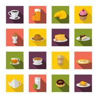Ícones de café da manhã plana