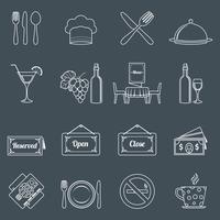 Conjunto de ícones de restaurante contorno