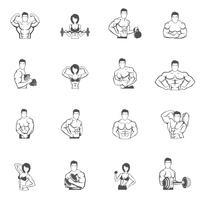 Musculação fitness ginásio ícones pretos