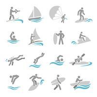 Conjunto de ícones de esportes de água vetor