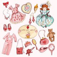 Conjunto de itens coloridos acessórios de menina pequena vetor