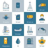Linha plana de ícones de óleo