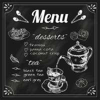 Menu de lousa de bule e xícara de chá