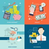 Conjunto de ícones de serviço de banco plana vetor