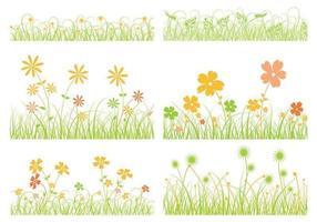 Vector de grama e pacote de vetores de flores