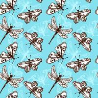 Padrão sem emenda de borboletas e libélulas vetor