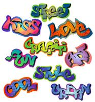 Conjunto de palavras de graffiti vetor