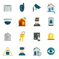 Ícone de segurança em casa plana vetor