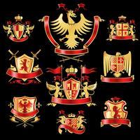 Etiquetas heráldicas ouro vermelho