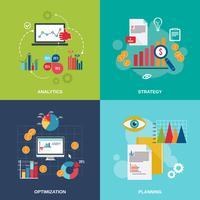 Conjunto de ícones de gráfico de negócios plana vetor