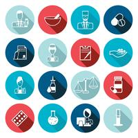 Conjunto de contorno de ícone de farmacêutico