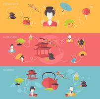 Conjunto de banner japonês