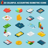 Conjunto de ícones de contabilidade isométrica