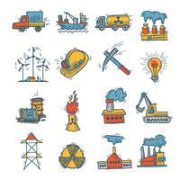 Conjunto de ícones de esboço industrial