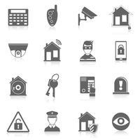 Ícones de segurança em casa vetor