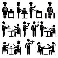 Funcionários do restaurante preto vetor