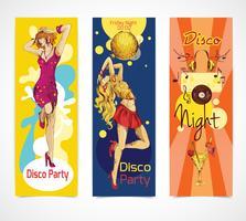 Conjunto de bandeiras de esboço de discoteca vetor