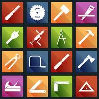 Ícones de ferramentas de carpintaria brancas