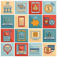 Linha plana de ícones bancários móveis