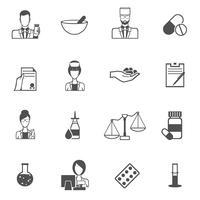 Conjunto de preto de ícone de farmacêutico