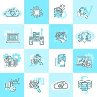 Ícones de análise de banco de dados