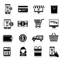 Ícones de comércio eletrônico conjunto preto