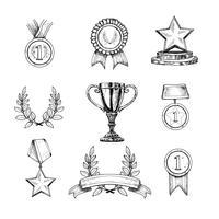 Conjunto de ícones de prêmio vetor