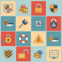 Conjunto de ícones de segurança linha plana