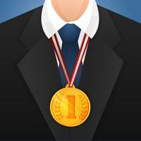 Homem negócios, com, medalha vetor