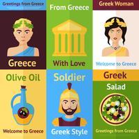 Conjunto de cartaz mini Grécia vetor