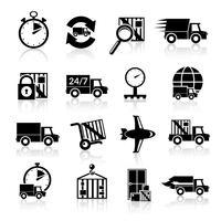 Ícones de entrega conjunto preto