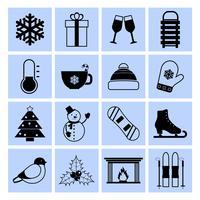Conjunto de ícones de inverno preto e branco