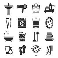 Banheiro, ícone, jogo, preto branco vetor