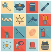 Conjunto de ícones de polícia linha plana vetor