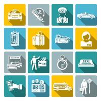 Conjunto de ícones branco de táxi vetor